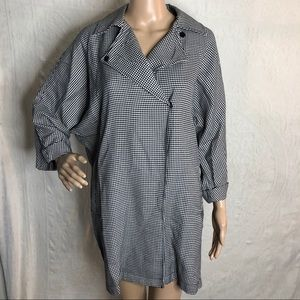 Button Down Houndstooth Trench Jacket